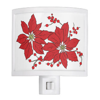 Red Poinsettia Christmas Pattern Night Lite