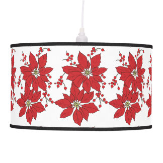 Red Poinsettia Christmas Pattern Pendant Lamp
