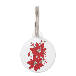Red Poinsettia Christmas Pattern Pet ID Tag
