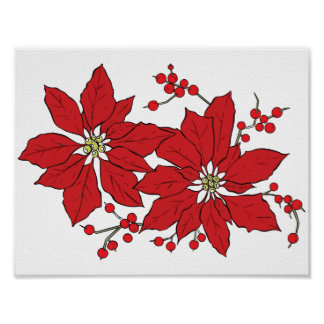 Red Poinsettia Christmas Pattern Poster