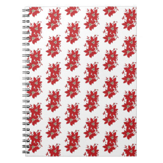 Red Poinsettia Christmas Pattern Spiral Notebook