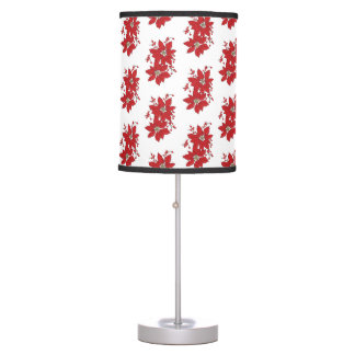 Red Poinsettia Christmas Pattern Table Lamp