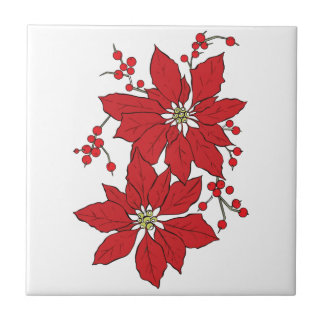 Red Poinsettia Christmas Pattern Tile
