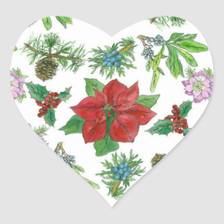 Red Poinsettia Christmas Plants Botanical Heart Sticker