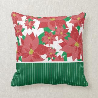 Red Poinsettia Christmas Throw Pillow
