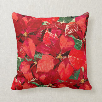 Red Poinsettia Christmas Throw Pillow