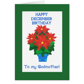 Red Poinsettia December Birthday for Godmother Card