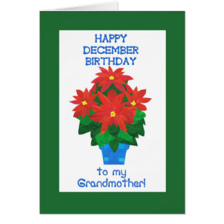 Red Poinsettia December Birthday for Grandmother Card
