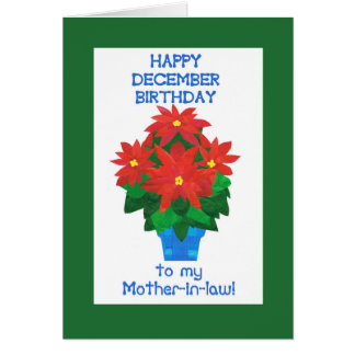 Red Poinsettia December Birthday for Mother-in-law Card