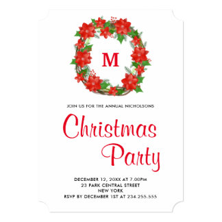 Red Poinsettia Floral Wreath Christmas Party Card