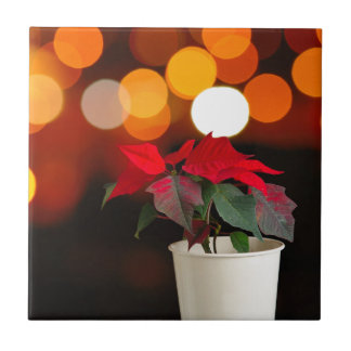 Red Poinsettia flower Ceramic Tile