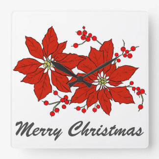 Red Poinsettia Flower Merry Christmas Typography Square Wall Clock