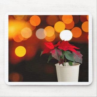 Red Poinsettia flower Mouse Pad