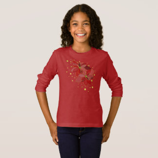 Red poinsettia flowers christmas shirt long sleeve