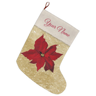 Red Poinsettia Gold Glitter Look Large Christmas Stocking