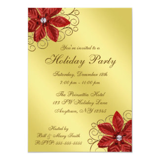 "Red Poinsettia Gold Swirls Holiday Party 4.5"" X 6.25"" Invitation Card"