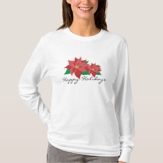 Red Poinsettia Happy Holidays T-Shirt