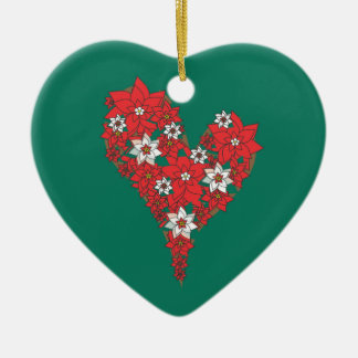 Red Poinsettia Heart Merry Christmas Ornament