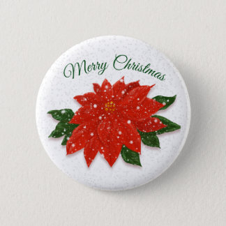Red Poinsettia in Snow 2 Inch Round Button