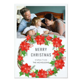 Red Poinsettia Merry Christmas Wreath Holiday Card