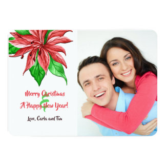 Red Poinsettia Photo Holiday Card