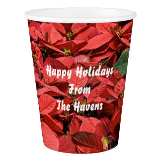 Red Poinsettia Plant Paper Cup