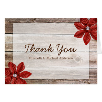 Red Poinsettia Rustic Barn Wood Thank You Card