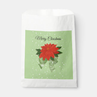 "Red Poinsettia with Green Bow ""Merry Christmas Favour Bag"