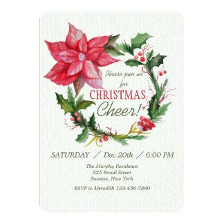 Red Poinsettia Wreath Invitation