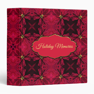 Red Poinsettias Abstract 3 3 Ring Binders