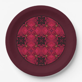 Red Poinsettias Abstract 3 Border Paper Plate