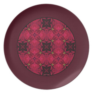 Red Poinsettias Abstract 3 Border Plate
