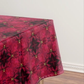 Red Poinsettias Abstract 3 Diagonal Tablecloth