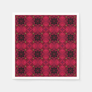 Red Poinsettias Abstract 3 Disposable Napkin