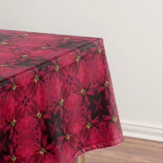Red Poinsettias Abstract 3 Tablecloth