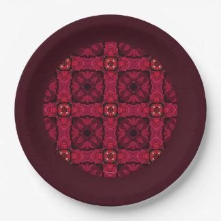Red Poinsettias Abstract 9 Border Paper Plate