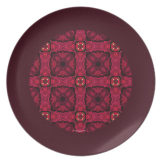 Red Poinsettias Abstract 9 Border Plate