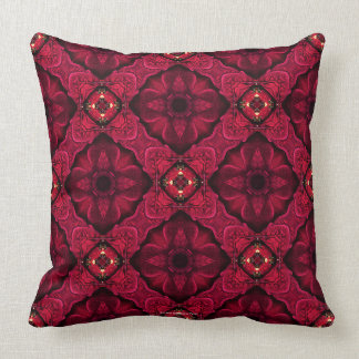 Red Poinsettias Abstract 9 Throw Pillow