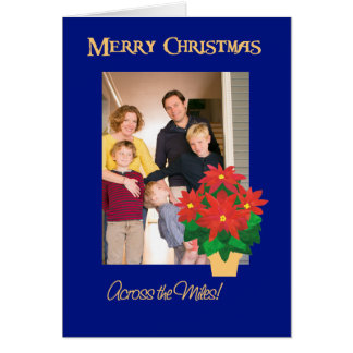 Red Poinsettias Christmas Photo Across the Miles Card