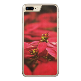 Red Poinsettias Flowers Carved iPhone 8 Plus/7 Plus Case