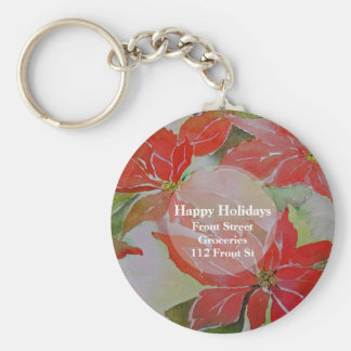 Red Poinsettias for the Holidays Keychain