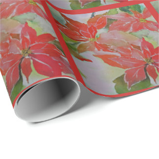Red Poinsettias for the Holidays Wrapping Paper