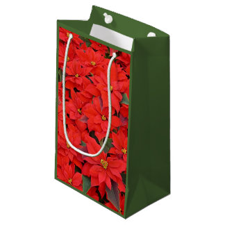 Red Poinsettias I Christmas Holiday Floral Photo Small Gift Bag