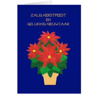 Red Poinsettias on Blue Flemish Language Greeting Card