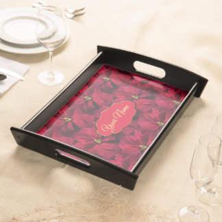 Red Poinsettias Serving Tray