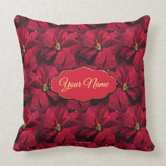 Red Poinsettias Throw Pillow