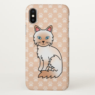 Red Point Birman / Ragdoll Cat Cartoon Drawing iPhone X Case