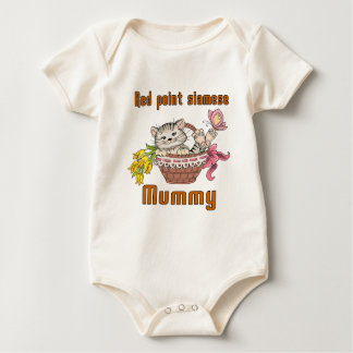 Red point siamese Cat Mom Baby Bodysuit