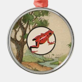 Red Poison Dart Frog Natural Habitat Illustration Metal Ornament