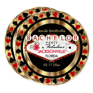 Red Poker Chip Bachelor Party - DIY City & State Card